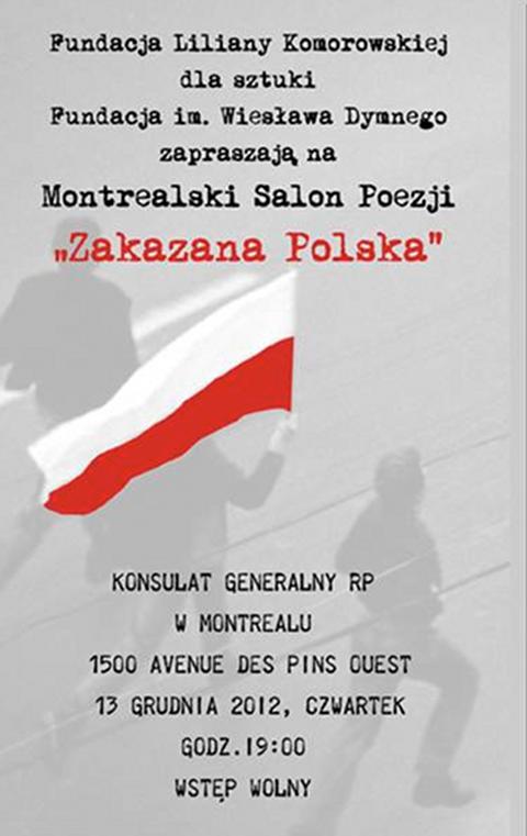 Montrealski Salon Poezji Zakazana Polska Kronika Montrealska