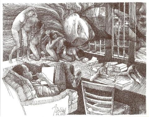 Drawer11x14 rysunek piorkiem, J.Delikat - Copy